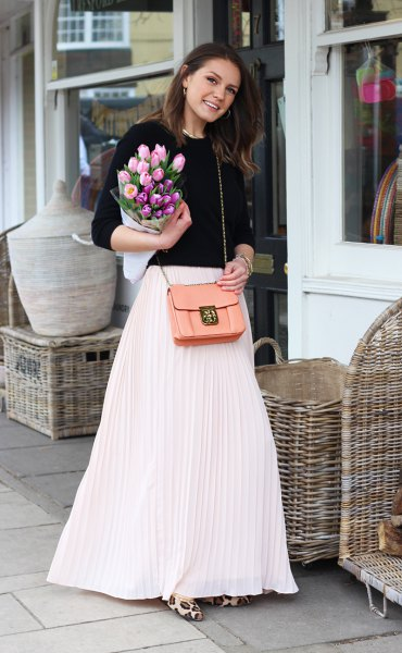 white maxi skirt with black crew neck fitted knit sweater