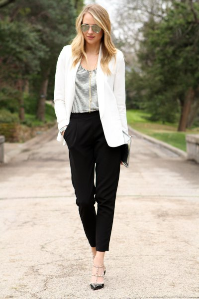 white oversized blazer with black chinos