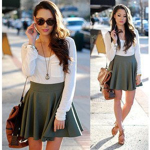 white pocket front long sleeve t shirt with grey high waisted mini skirt