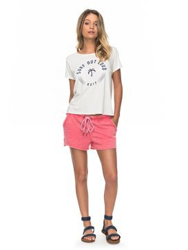 white print tee with blush pink fleece shorts