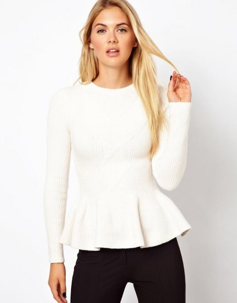 white ribbed peplum sweater with black skinny jeans