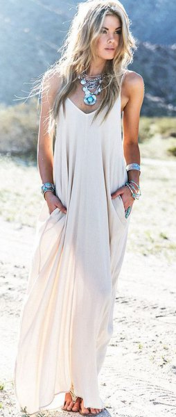 white semi sheer chiffon maxi summer dress with boho necklace