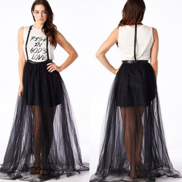 white sleeveless print tee with black suspender flared maxi mesh skirt