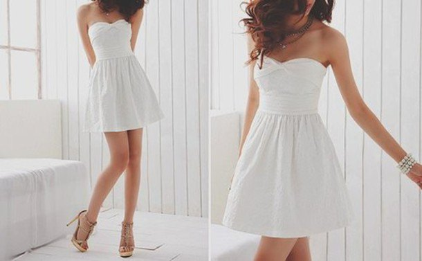 white strapless sweetheart neckline fit and flare mini dress