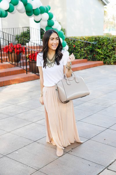 white t shirt with blush pink pleated maxi skirt