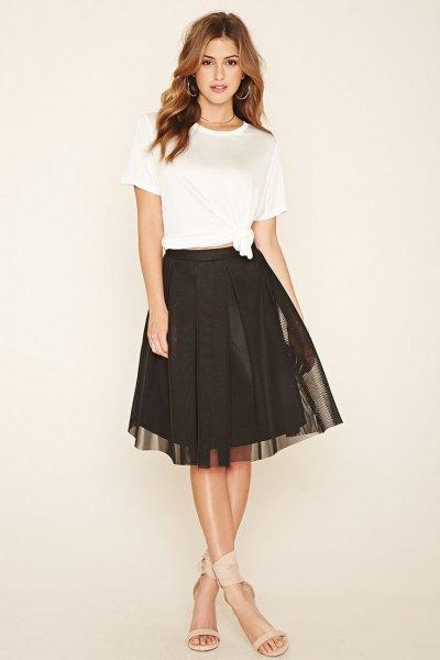 white t shirt with brown mesh skater skirt