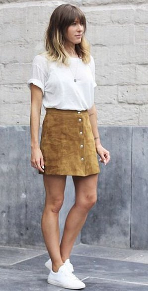 white t shirt with camel button front mini skirt