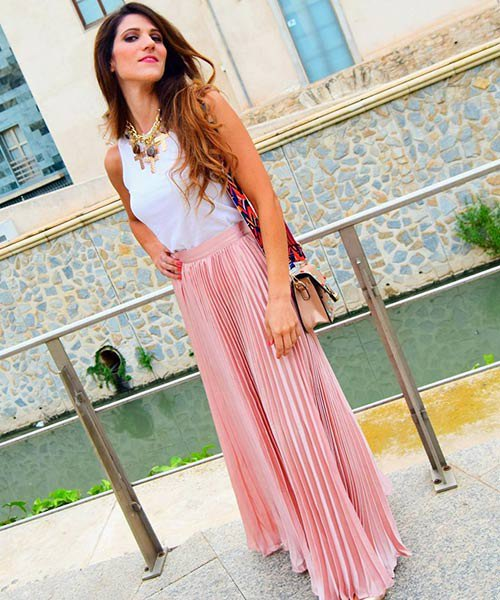 white tank top with pink maxi skirt