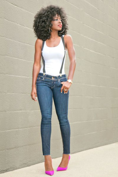 white tank top with suspender skinny ankle jeans