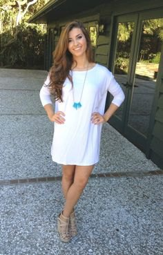 white three quarter sleeve tunic dress with nude strappy sandals