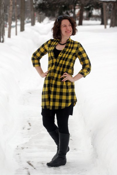 yellow and black plaid top with leggings and knee high boots
