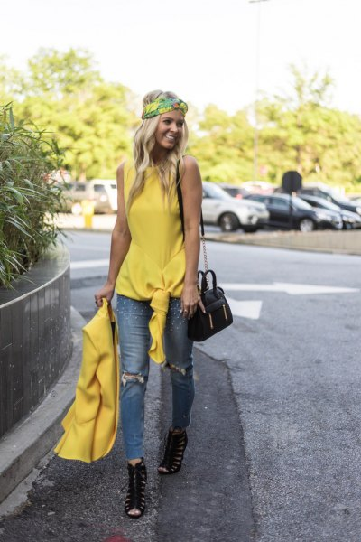 yellow sleeveless knotted top with matching blazer