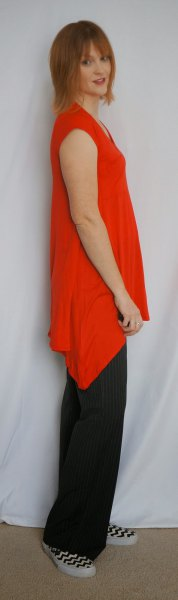 asymmetric sleeveless tunic with black wide leg pants