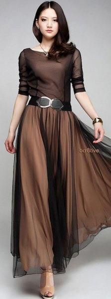 belted brown chiffon pleated maxi dress