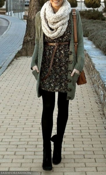 belted floral mini dress with scarf and leggings