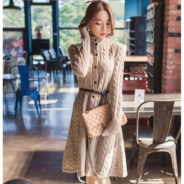 belted ivory cable knit long and flared button up sweater coat