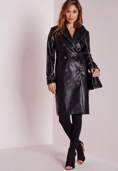belted leather long coat with leggings and open toe boots