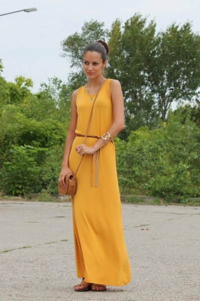 belted sleeveless mustard yellow maxi dress