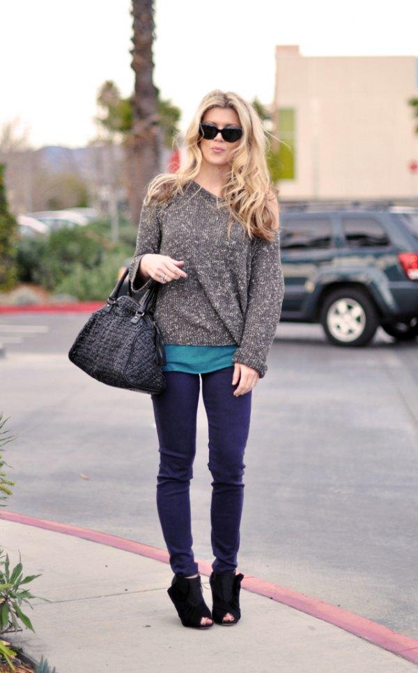 best purple jeans outfit ideas for women