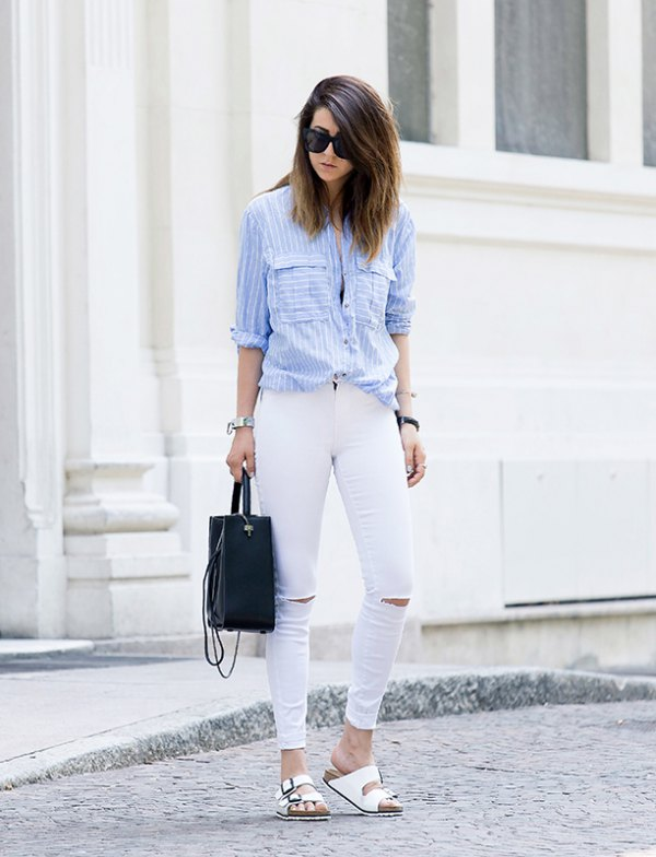 light blue blouse outfit ideas for women