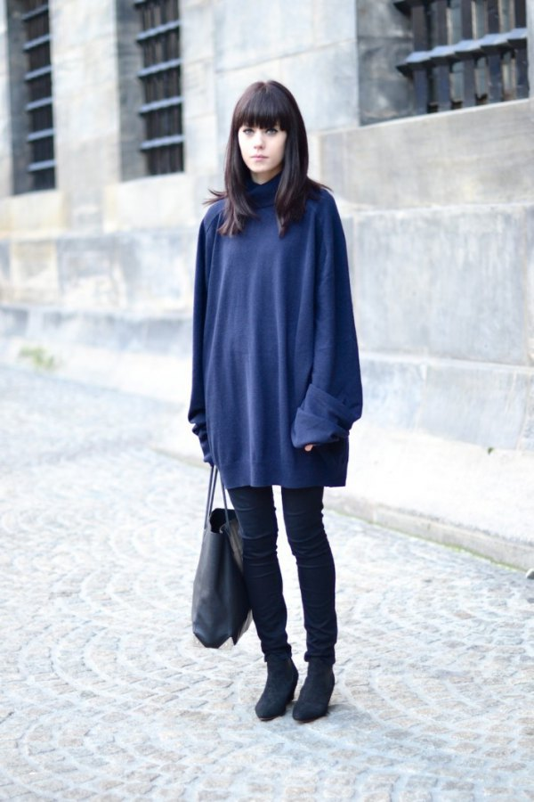 outstanding navy blue jumper outfit shoes