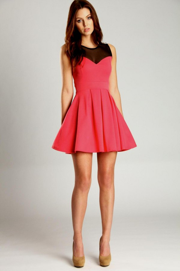 best pink skater dress outfit ideas