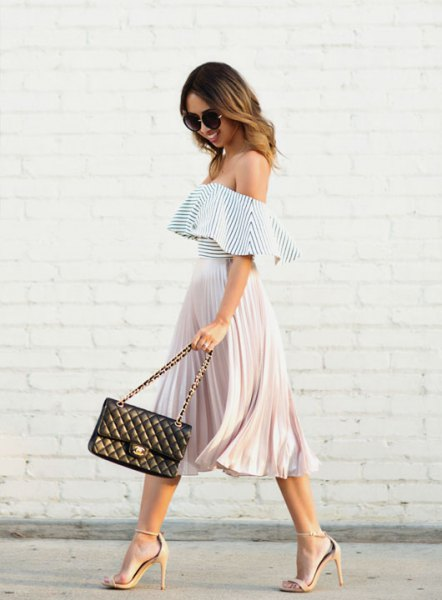 black and white off the shoulder ruffle top with pleated midi skirt