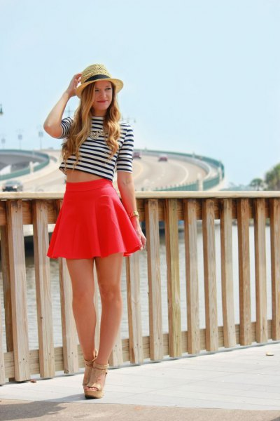 black and white striped half sleeve cropped tee with mini skater skirt
