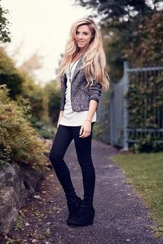 black boots with heather grey blazer and long white tee