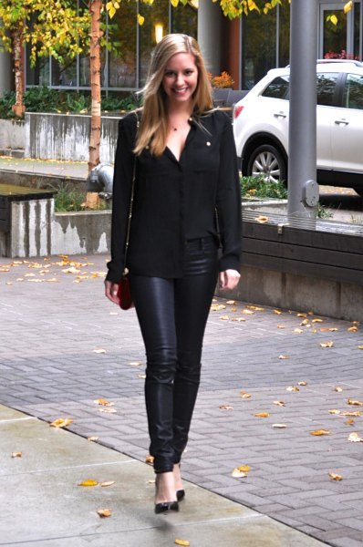 black chiffon shirt with coated jeans