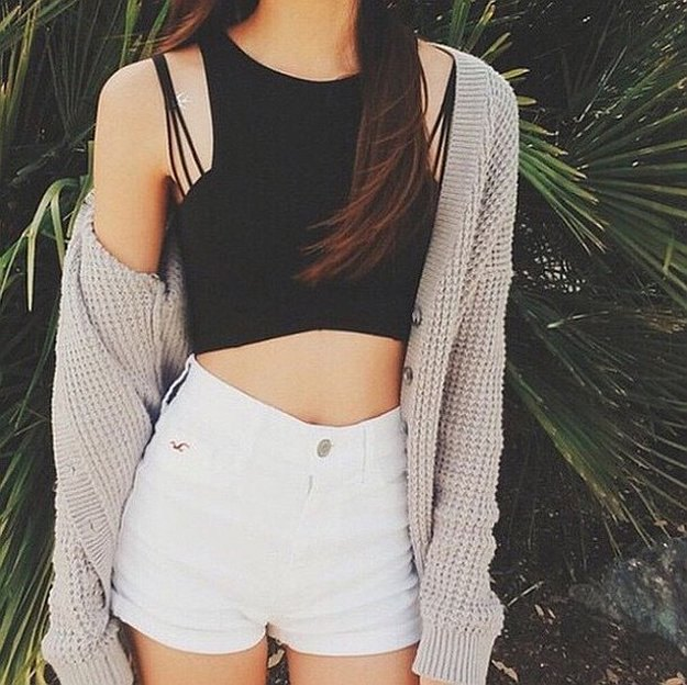 black crop top with white mini shorts and longline cardigan