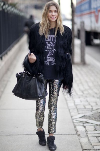 black faux fur coat with sequin pants