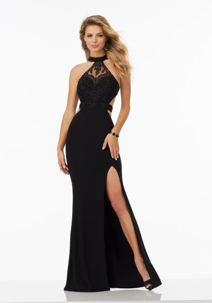 black halter neck high split maxi dress