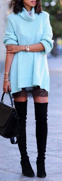 black lace mini skirt and thigh high suede boots