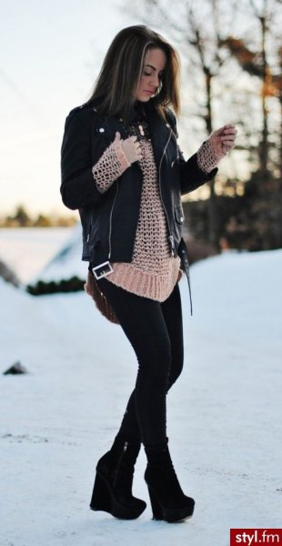black leather jacket with crepe crochet knit sweater and ankle boots