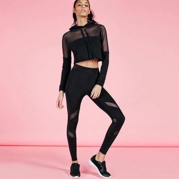 black mesh cropped hoodie with running tights