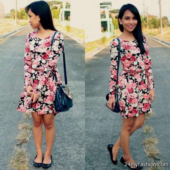 black pink and white rose printed long sleeve dress