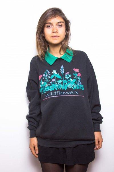 black printed sweatshirt with mini skirt