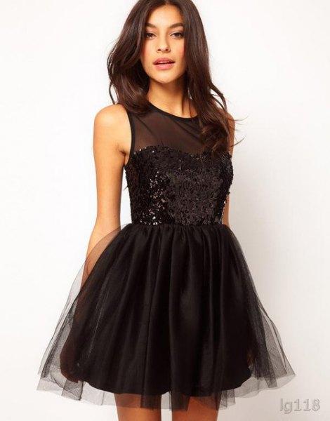 black semi sheer sequin and tulle mini tutu dress
