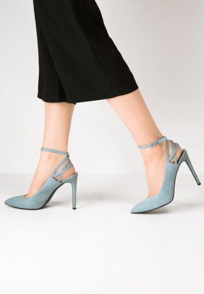 black shift maxi dress with light blue pointed toe denim heels