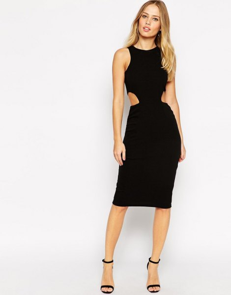 black side cut out knee length dress with ankle strap heels