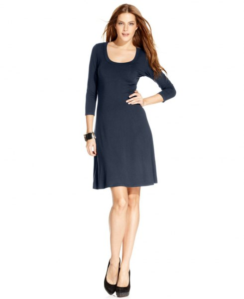 black three quarter sleeve scoop neck flared mini dress