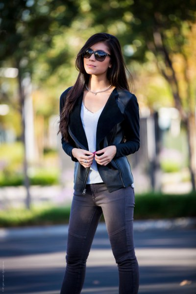 black velvet blazer with grey moto jeans