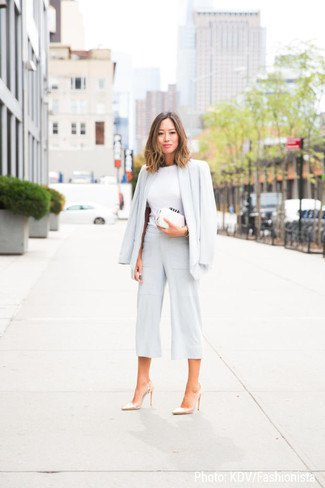 blazer with white mock neck sweater and wide leg cropped pants