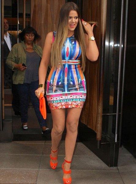 blue and orange sleeveless bodycon mini printed dress