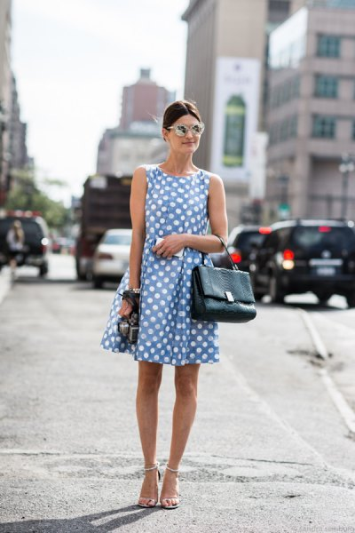 blue and white polka dot mini flared dress