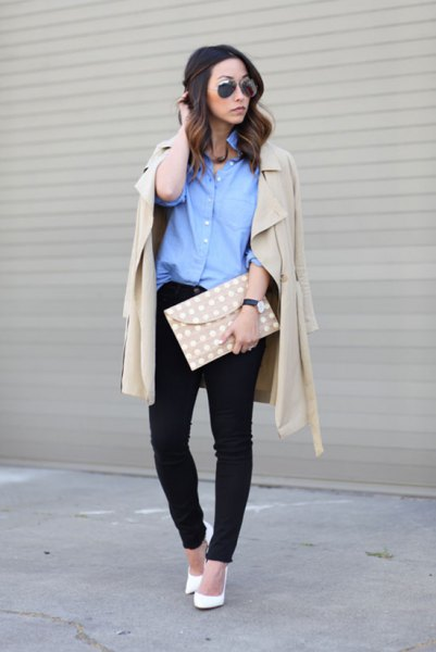 blue button up shirt with pale pink longline blazer