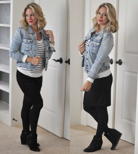 blue denim jacket with white and black striped sweater and wedge booties