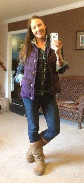 blue plaid boyfriend shirt with purple down vest
