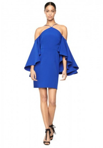 blue ruffle sleeve halter neck mini dress